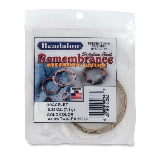 (Beadalon Remembrance Memory Wire Bracelet .62mm 0-1/4-Ounce/Pkg, Gold/Approx 18 Loops)