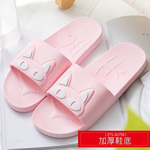 fankou Slippers Women Indoor Summer Anti-Slip Home with Lovely Cartoon Couples Home Bath Bathroom Cool Slippers Male Summer,35-36, Pink White Cat (Thick)