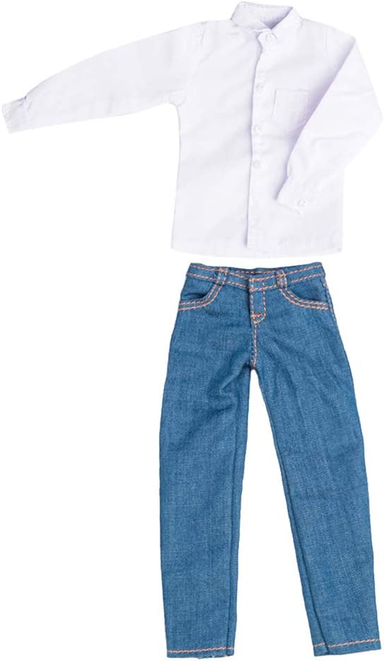 Amazon.es: Baoblaze 1/6 Escala Hombres Camisa Jean Pantalones ...