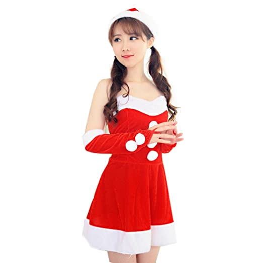 5a9d5af0ffcfa Han Shi Party Dresses, Women Sexy Santa Christmas Costume Xmas Skirt Office  Party Outfit (