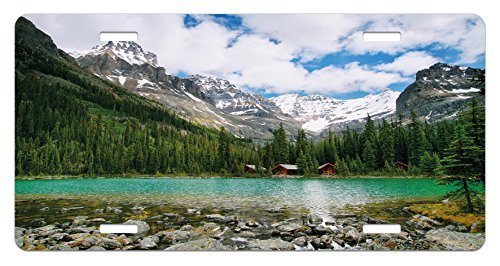 zaeshe3536658 Landscape License Plate, Canada Ohara Lake Yoho National Park with Mountains Nature Scenery Art Photo, High Gloss Aluminum Novelty Plate, 6 X 12 Inches. by zaeshe3536658
