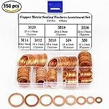 5 8 copper washer - 150Pcs 8 Sizes Copper Metric Sealing Washers Assortment Set