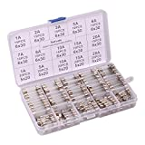 250pcs Quick Blow Glass Tube Fuse Assorted Kit Amp 250V 1A, 2A , 3A , 5A, 6A , 7A , 8A, 10A, 15A,20A, 6x30mm, 250V 1A, 5A, 10A, 15A, 20A, 5x20mm Ted Lele (5x20mm and 6x30mm)