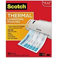 Letter Size Thermal Laminating Pouches, 3 mil, 11 2/5 x 8 9/10, 200 per Pack, Sold as 1 Package, 200 Each per Package