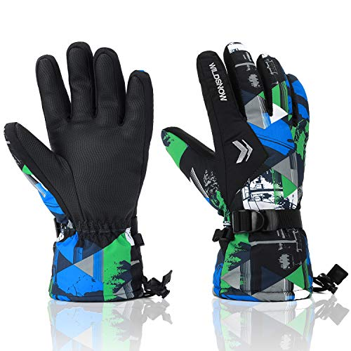 (Ski Gloves, RunRRIn 100% Waterproof Warm Snow Gloves for Mens, Womens, and Kids)