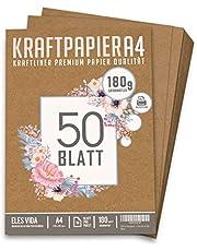 Premium Papel de Estraza DIN A4 de 180 g – 21 x 29,7 cm - Papel de manualidades, cartón natural, hojas de cartón, papel de cartón vintage para boda, regalos y etiquetas (50 hojas)