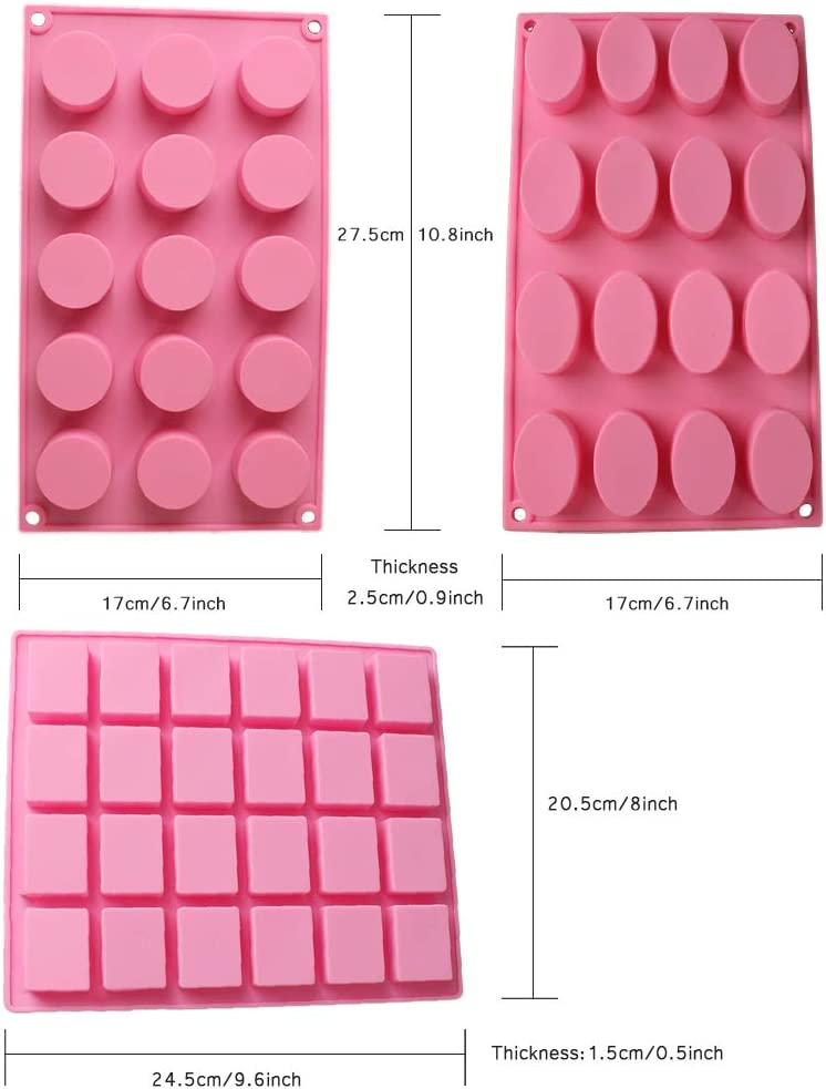 3 Pack Silicone Mold Soap Molds Round Rectangle Oval for Handmade Soap Jelly Pudding Chocolate Cake Baking Tools Biscuit Cookie Molds