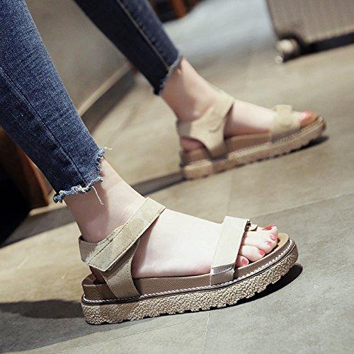 zapatos mujer punta zapatos de playa mujer verano de al sandalias zapatos mujer velcro espesor SOHOEOS de de de romanos deportes mujer moda antideslizante inferior abierta Caqui plataforma planos nuevos de qBnTgE