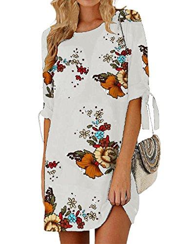 SUNNYME Women's Floral Mini T Shirt Dresses Short Sleeve Bowknot Summer Loose Tunics B-White S