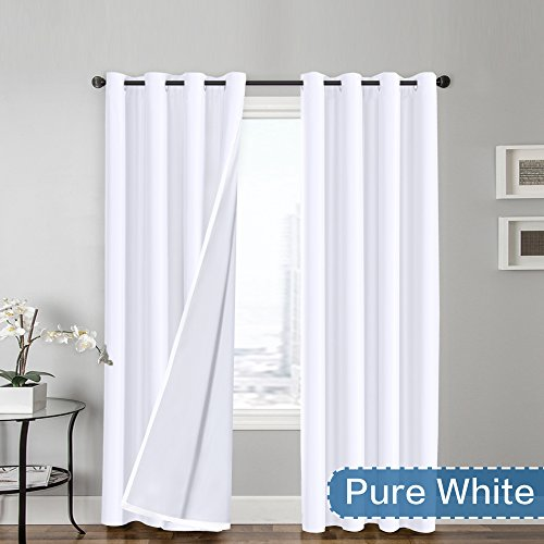 FlamingoP Full Blackout Pure White Curtains Faux Silk Satin with White Liner Thermal Insulated Window Treatment Panels, Grommet Top (52 x 96 Inch, Set of (Black And White Tv Set)