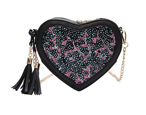 Borsa a mano Borsa da donna Borsa a tracolla a contrasto in colore selvaggio Borsa con paillettes portatile Piccola borsa rotonda Black