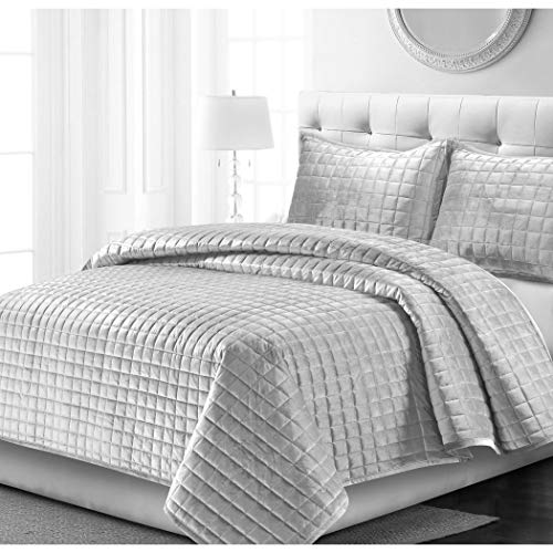 OSVT 3 Piece Silver Grey Chenille Quilt Set Queen, Gray Geometric Diamond Pattern Solid Color Bedding, Classic Contemporary Glam Mid Century Luxury, Holiday Square Woven Reversible Polyester