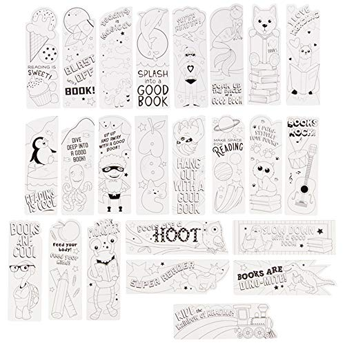 (Juvale Color Your Own Bookmarks for Kids (24 Pack) Cute Animals and Superhero for Teachers Students Classroom Rewards (6 x 2 Inches))