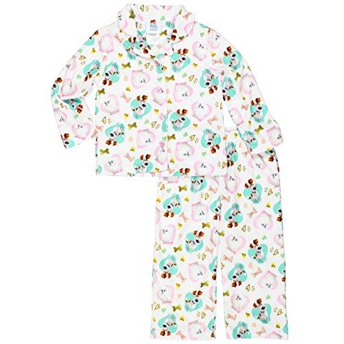 Flannel Coat Style Pajamas - The Secret Life of Pets Little Girls Flannel Coat Style Pajamas (6, Max Gidget White)