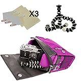 Metric Purple DSLR Camera Shoulder Bag w/x3 Screen Protector + 6'' Tripod for Vivitar ViviCam F128 T027 T328 X014 X018 X022 X024 X029 X327
