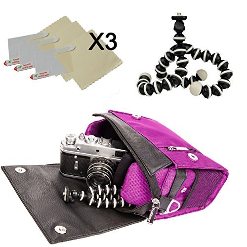 Metric Nylon Hybrid Camera Bag [Purple Plum] w/x3 Screen Protector + 6'' Tripod for Fujifilm FinePix SL240 SL260 SL280 SL300 SL305 SL1000 by Vangoddy