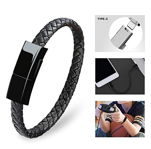Dzzkoye USB Type C Cable Bracelet for Men Samsung S8 Short Portable Leather Charger (L) (Mp3 Player Braclet)