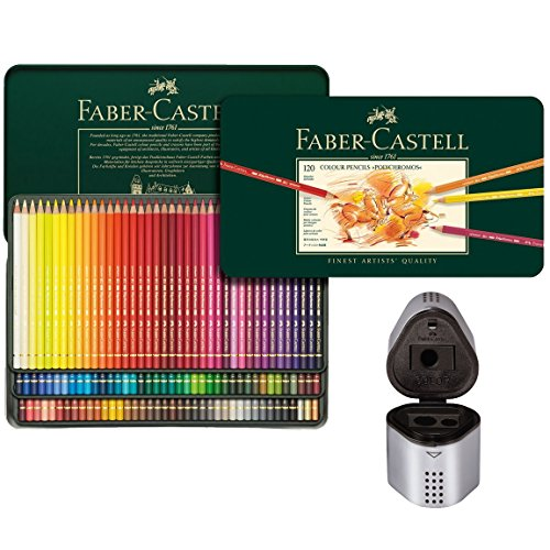 Faber Castell Premium Polychromos 120 Color Pencil Set and Trio Pencil Sharpener by Faber-Castell