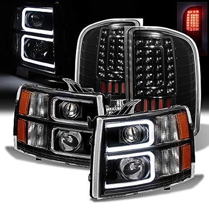 Para 2007 - 2013 Chevy Silverado negro LED-tube Proyector Faros ...