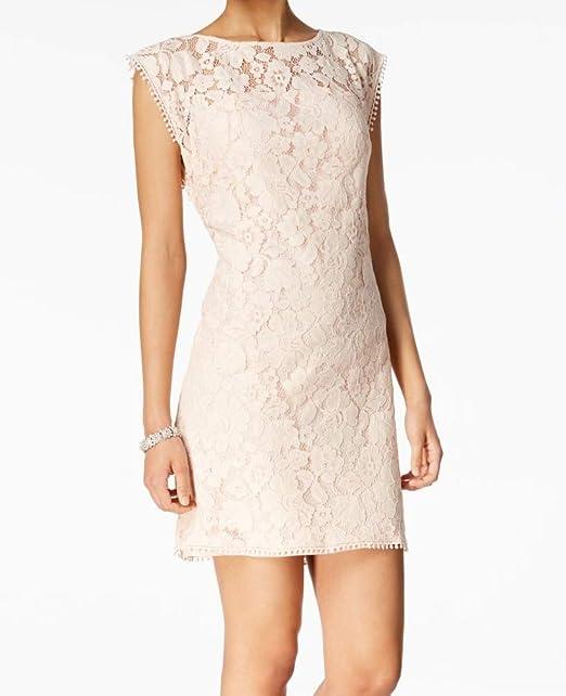 Vince Camuto Light Womens Illusion Lace Shift Dress Pink 12