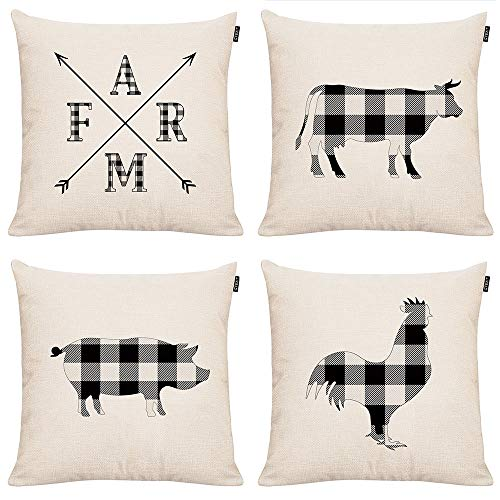 GTEXT 4 Pack Rustic Plaids Design Farmhouse Throw Pillow Covers Buffalo Check Farm Animals Cotton Linen Cushion Covers for Sofa,Chair,Bed 18x18 inch