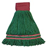 Industrial Laundry Style Antimicrobial Looped End Wet Mop - Green 12 Pack