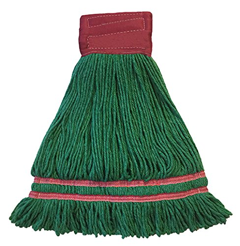 Industrial Laundry Style Antimicrobial Looped End Wet Mop - Green 12 Pack by Direct Mop Sales, Inc.