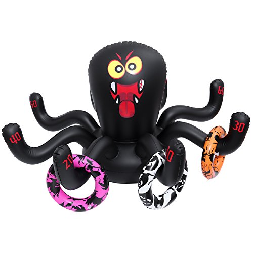 Amosfun Halloween Inflatable Ring Toss Game Halloween Party Game Outdoor Party Game Spider Toys PVC Toys with 3 rings for Kid -