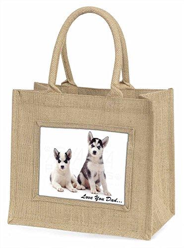 Advanta Husky Welpen, Love You Dad Große Einkaufstasche Weihnachten Geschenk Idee, Jute, beige/natur, 42x 34,5x 2cm