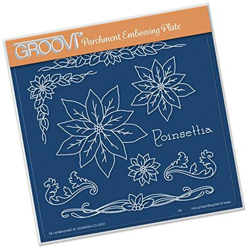 GROOVI Jayne's Poinsettia Name Plate A5 Square, GRO40388 Claritystamp
