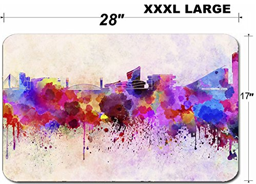 Liili Large Table Mat Non-Slip Natural Rubber Desk Pads IMAGE ID: 25779658 Manchester skyline in watercolor background