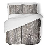 SanChic Duvet Cover Set Green Barn Distress Wooden Planks Wood Weathered Abstract Decorative Bedding Set with 2 Pillow Shams King Size