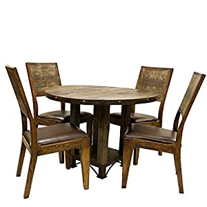 Round 42 Urban Rustic Dining Room Set Table Chair