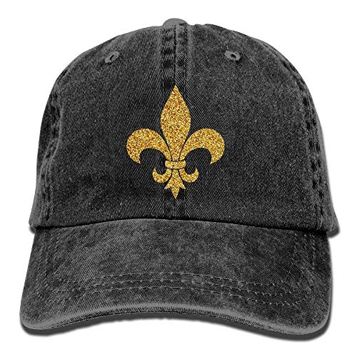 Mardi Gras Glitter Fleur De Lis Gold Classic Unisex Baseball Cap Adjustable Washed Dyed Cotton Ball Hat