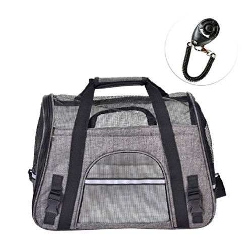 Airline Approved Pet Travel Bags Portable Breathable Single Shoulder Strap For Pet Carrier With Training Clicker by Defonia Petsupplies