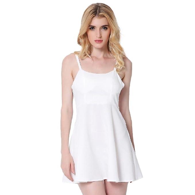 PRIAMS 7 - Vestido - sujetador bandeau - Sin mangas - para mujer blanco blanco S: Amazon.es: Ropa y accesorios