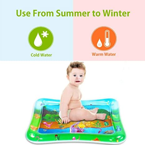 Great Gift for Boys Girls Baby Stimulation Growth Dinosaur Pattern ANBOSE Tummy Time Baby Water Mat Baby Water Play Toy Inflatable Baby Play Mat for 3 Months and Up Infant