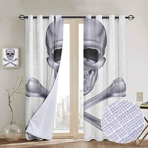Blackout Curtains Grey,Vivid Skull and Crossed Bones Dangerous Scary Dead Skeleton Evil Face Halloween Theme, Dimgray,Thermal Insulated Panels Home Décor Window Draperies for Bedroom a100