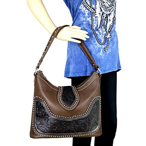 Tooled Leather Carrying Purse West Black Hobo Gun Montana Concealed Genuine 7TUq8cY