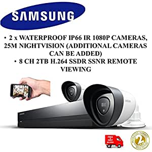 new samsung sdh p4021 2 x ip66 1080p cameras 8 channel 2tb dvr home security. Black Bedroom Furniture Sets. Home Design Ideas