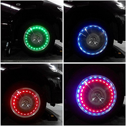 Aumo-mate 1pcs Solar Power Car Bike Motorcycle Tire Wheel Lights Auto Wheels Decor Lamp with Motion Sensors Tire Air Valve Cap Colorful LED Flash Wheel Tyre Tire Decoration Lamp Light Cap ST-E120