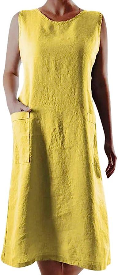 VEMOW Vestido Mujer Verano Moda para Señoras de Las Mujeres de algodón Suelto y Lino Mini Vestido sin Mangas con Bolsillo de Cuello en O Beach Cover up Mangas Cortas: Amazon.es: Ropa
