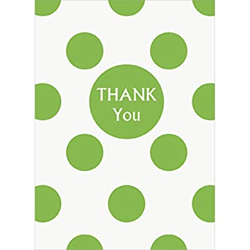 Amazon Com Lime Green Polka Dot Thank You Cards 8ct Party