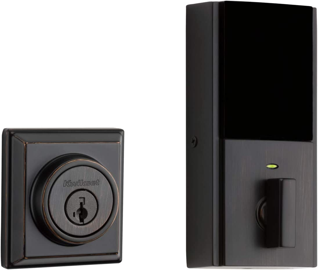 Kwikset 99140-133 Signature Series 2nd Gen Square Smart Lock Featuring SmartKey Security and Home Connect Technology Contemporary Z-Wave Plus Deadbolt, Venetian Bronze