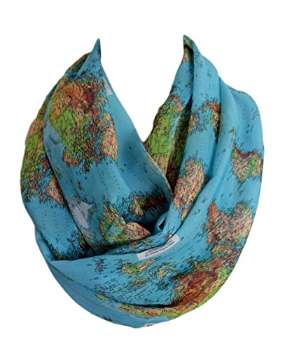 Etwoa's World Map Infinity Scarf Circle Scarf Loop Scarf