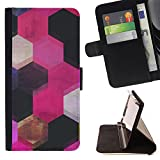 Planetar Colorful Pattern Flip Wallet Leather Holster Protective Skin Case Cover For SAMSUNG Galaxy S5 V / i9600 / SM-G900 ( Pink Black Honeycomb Polygon Art )
