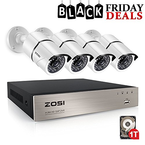 ZOSI 4CH FULL TRUE 1080P Video Security DVR 4X 1080P HD Outdoor Weatherproof Surveillance Camera System 1TB HDD White(100ft night vision, Motion Alert, Smartphone& PC Easy Remote Access) by ZOSI