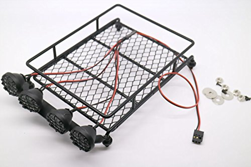 RC 1:10 Roof Luggage Rack LED Light Bar Wrangler Tamiya CC01 SCX10 Axial 513B