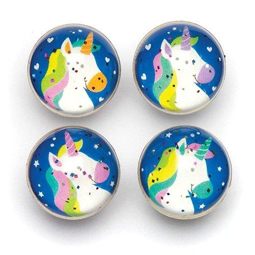 Baker Ross Palline Rimbalzine Glitterate con Unicorni Arcobaleno per Bimbi - Giocattolo Divertente per Sorprese per Buste Regalo o Premi per Bambini (Confezione da 8)