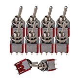 Yibuy AC 125V 6A 2 Pisition TGD3 Toggle Switches ON/ON Red Set of 10